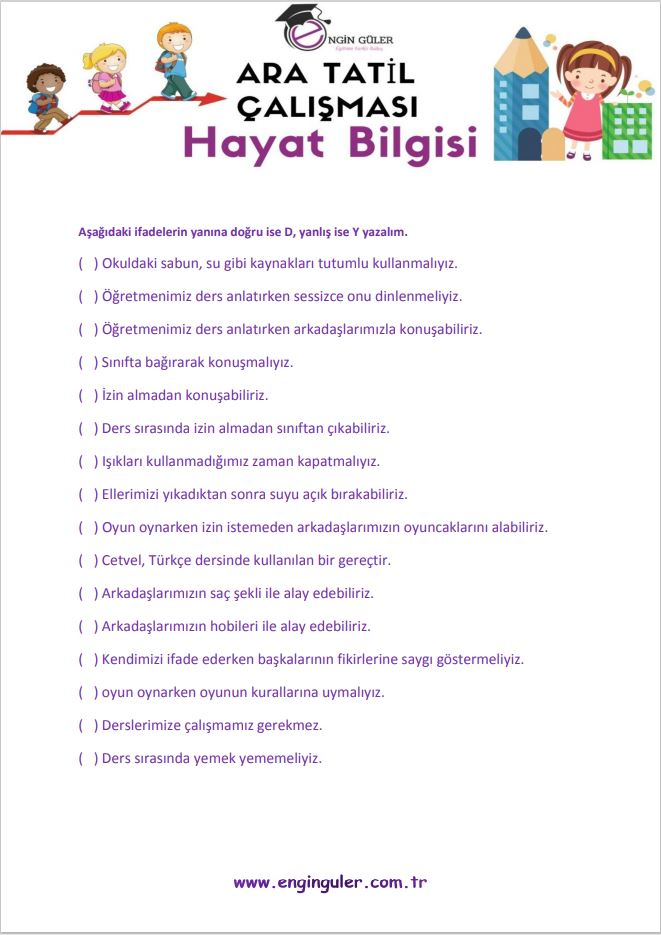 2.Sınıf Ara Tatil Hayat Bilgisi Çalışma Kağıtları Örnek Sayfa